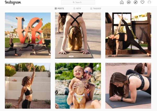 How to Increase Yoga Class Attendance -- use Instagram to engage followers and attract students, like BloomaYoga's page filled with images of yoga poses, students and their kids