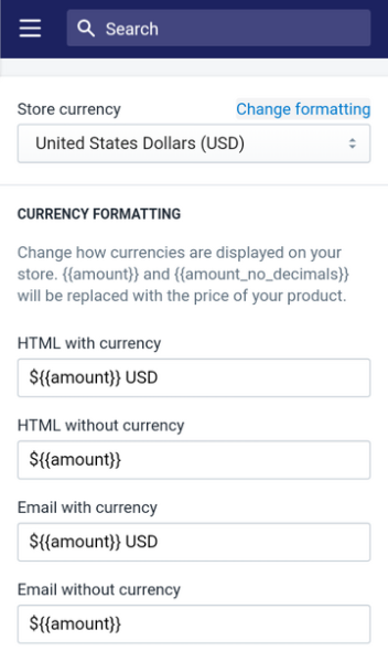 Shopify tips - set your pricing  on whole-number prices by going to this store currency page and changing the formatting to not include decimals