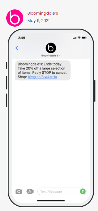 Bloomingdale's SMS message announcing the end of a sale