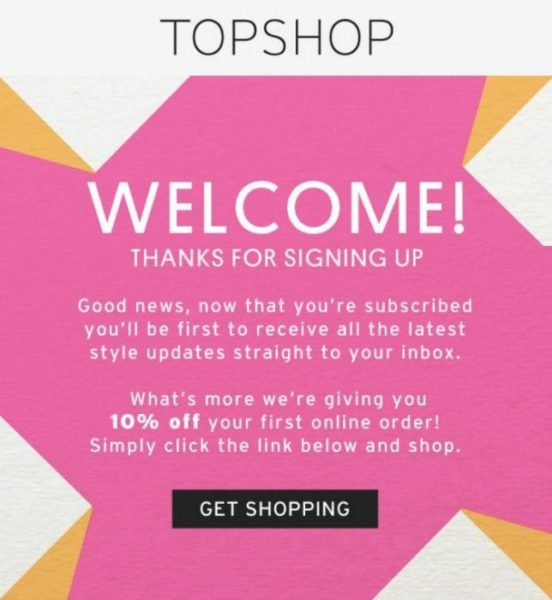Topshop welcome email letting people know what to expect and giving readers 10% off