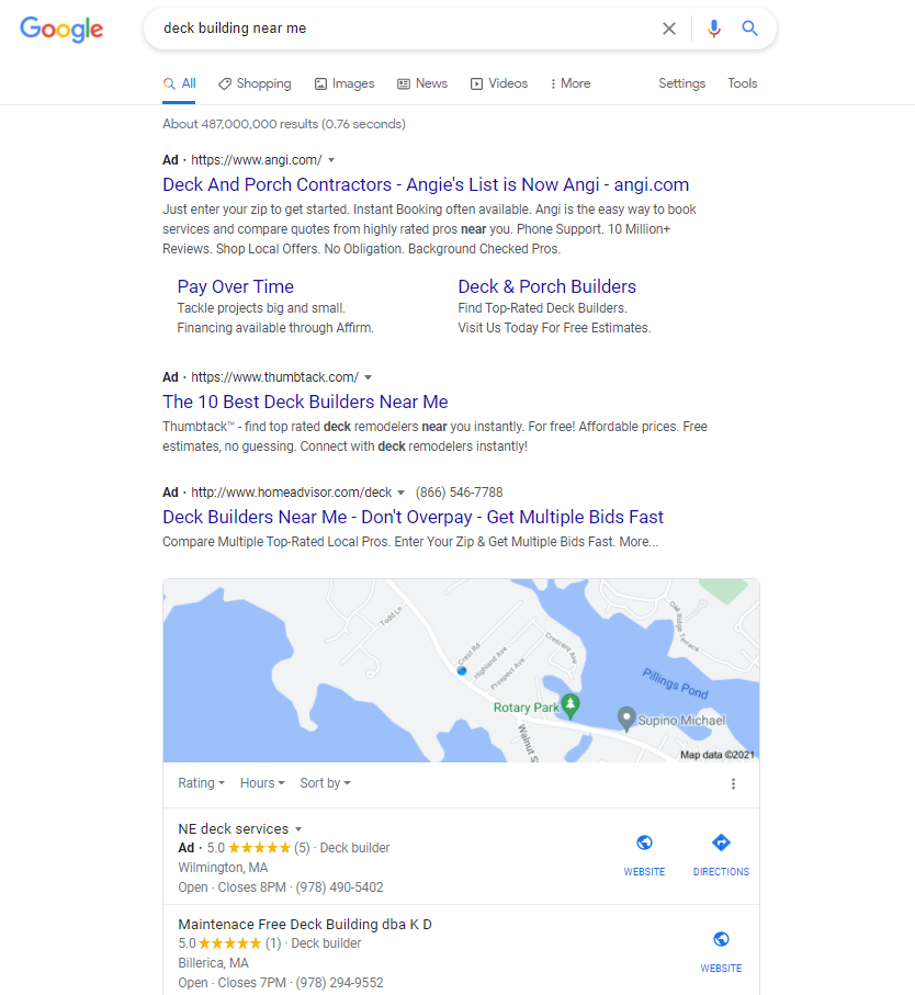 """How to start a deck building business - pay for Google ads to be at the top of SERPs - image of SERP for """"deck building near me"""""""