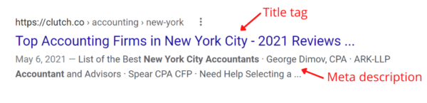 Google SERP showing the title tag and meta description