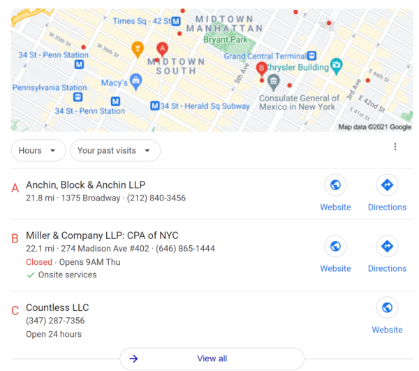 Google local search showing the 3-pack