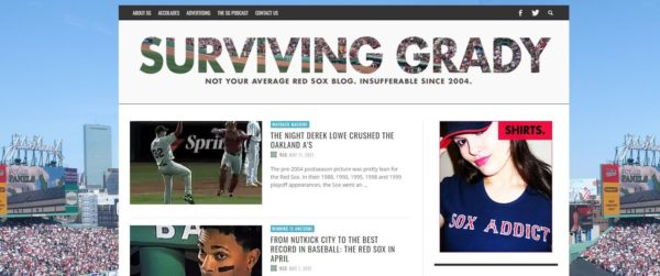 """How to start a sports blog -- choose your niche like this Red Sox fan blog, """"Surviving Grady"""""""
