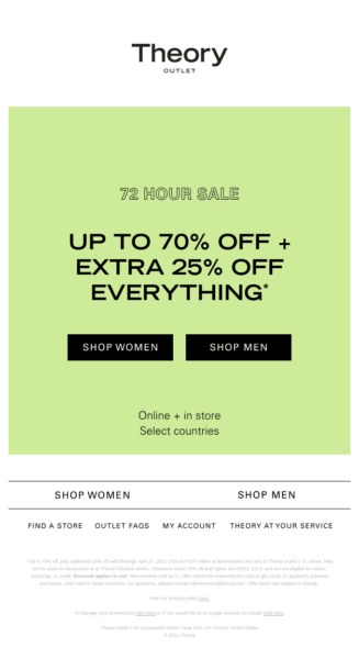 newsletter ideas - 72 hour sale, up to 70% off