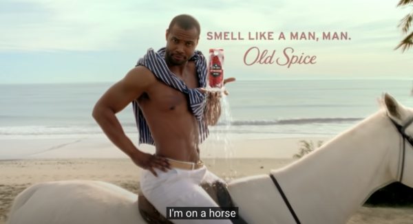 The Old Spice guy on a horse