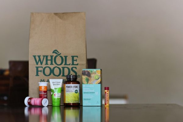 How To Market Health Supplements - follow FDA guidelines when packaging your health supplements, like those in this image of health supplements and other items from Whole Foods