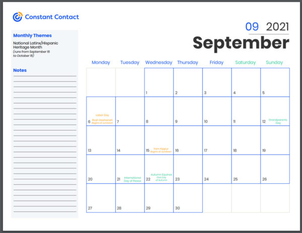 Screen shot of Constant Contact free online marketing calendar which can be downloaded and printed out