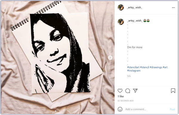 how to promote your art on Instagram -- _artsy_wish_ stencil drawing of a young girl softly smiling