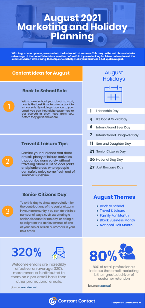 August Holidays for Marketing and Planning 2021 infographic