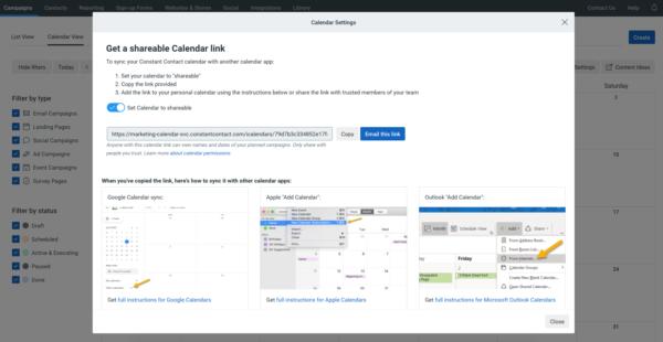 Shareable marketing calendar