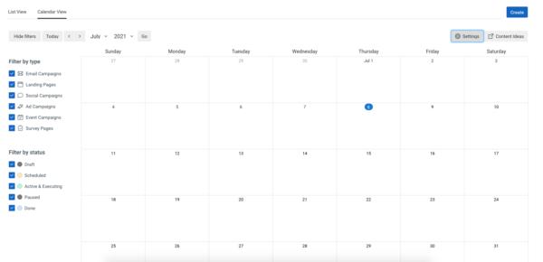 Marketing calendar and planning tool