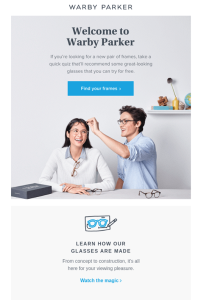 retail email examples - Warby Parker welcome email