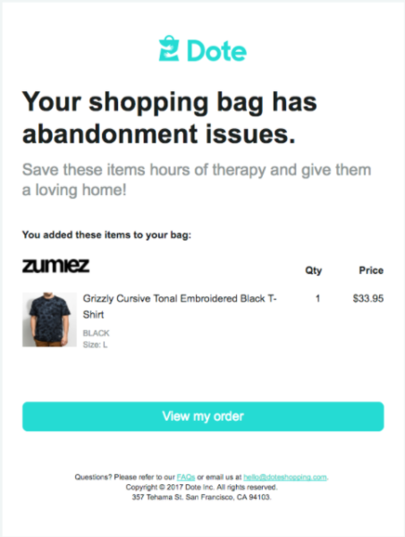retail email examples - Dote cart abandonment email