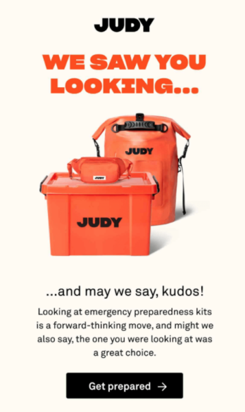 retail email examples - Judy lead nurturing email