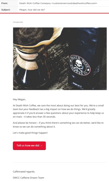 Death Wish Coffee check-in email asking customers for feedback