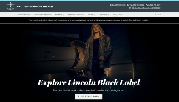 Sill-TerHar Lincoln Black Label splash page featuring a model in fur standing in front of a private jet cast in dark shadow to black