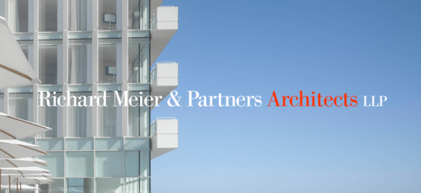 Richard Meier & Partners Architects LLP splash page showing an edge view of a condo high rise all in white and soft blue