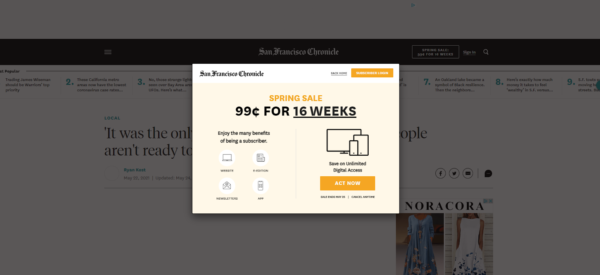 San Francisco Chronicle's splash page is a small square requiring readers to sign in or sign up before they can get to the article itself