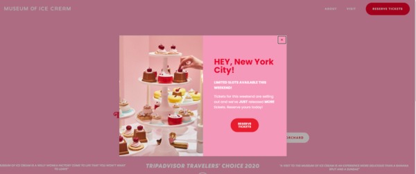 Museum of Ice Cream in New York's splash page is a centrally located box that displays an image of deserts on a tray and text about tickets