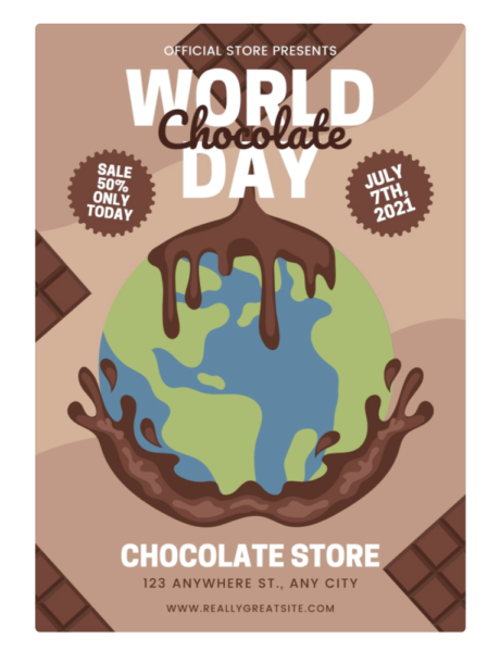 """special event """"world chocolate day"""" flyer"""