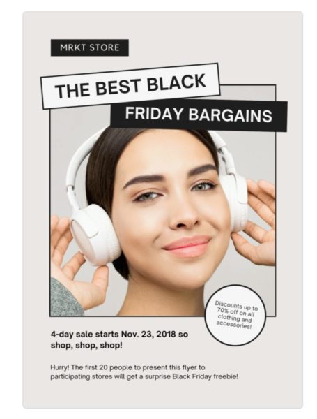 flyer with picture of girl with item being sold