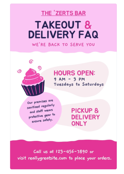 playful flyer with bright pinks and cupcake graphics