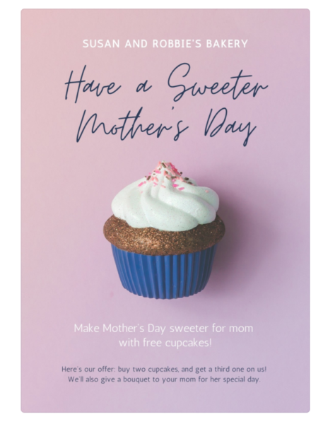 flyer with a giant cupcake in the middle