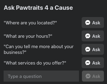 Facebook for nonprofits - example of using Facebook messenger questions