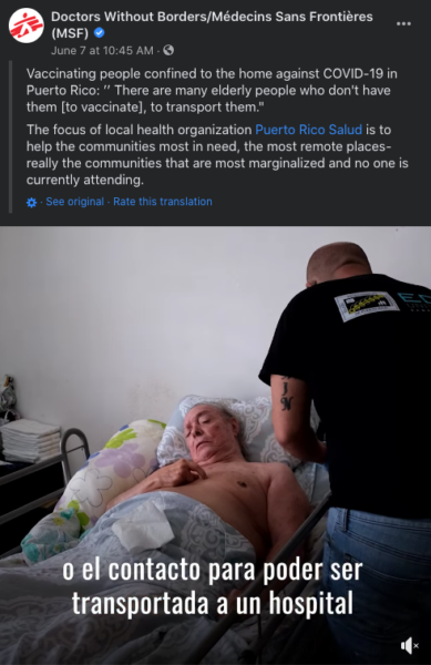 nonprofit Facebook post example - Doctors Without Borders