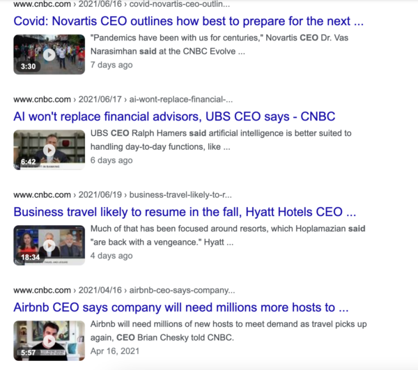 Google search results showing CNBC's use of quotes from experts