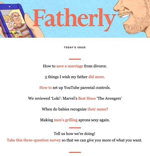 Fatherly's newsletter has a table of contents so readers can jump to the section they want to read