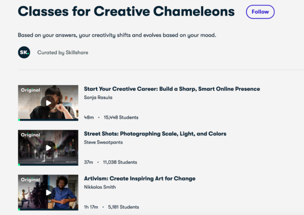 Skillshare landing page based on answers from the newsletter, shows a curated list of classes