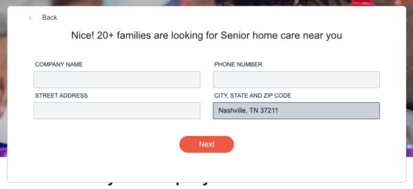 Care.com's potential client search form