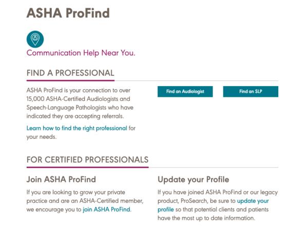 screenshot of ASHA ProFind site