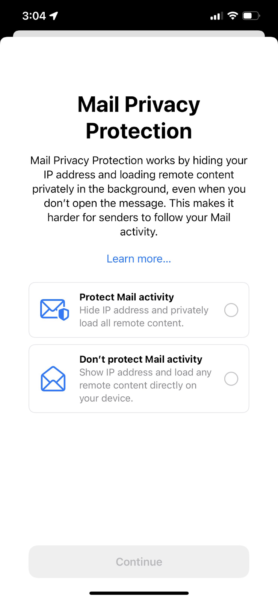Mail privacy protection screenshot for email marketing activity