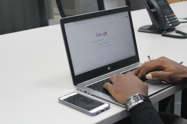 adult student doing an online search