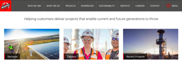 """Screenshot of Bechtel construction slogan, """"Helping customers delver projects that enable current and future generations to thrive."""""""