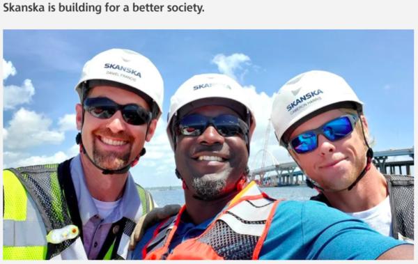 """screenshot showing Skanska sloga, """"Skanska is building for a better society."""""""