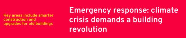 "Screenshot of Ashden slogan. ""Emergency response: climate crisis demands building revolution."""