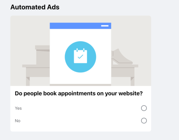 """Screenshot of Facebook ad creation - """"Automated Ads"""""""
