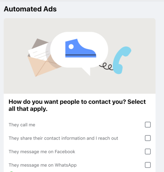 """Fb ad creation """"automated ads"""" questionaire"""