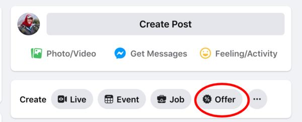 "Fb screenshot of ""offers tool"""