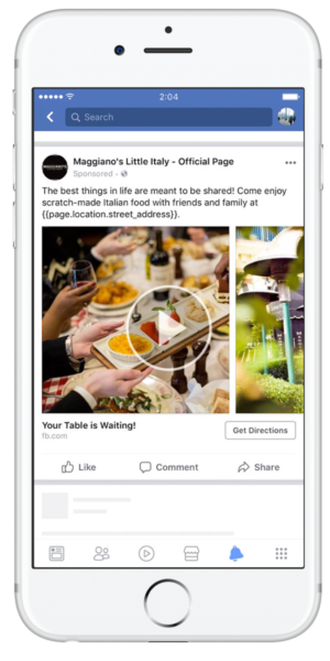 screenshot of Maggiano's Little Italy Facebook ad -- as seen on an iPhone