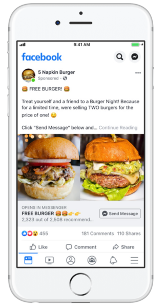 screenshot of 5 Napkin Burger Facebook ad showing two of their burgers