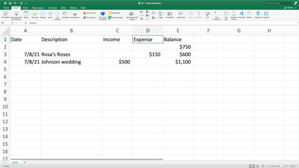 screenshot of Excel cash basis accounting