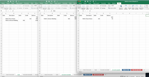 screenshot of Excel accrual and double-entry accounting