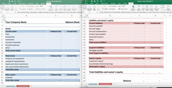 screenshot of Excel templates