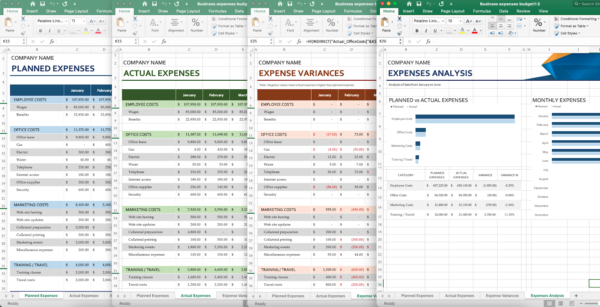 screenshot of Excel expenses template