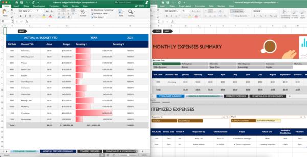 screenshot of Excel general ledger template